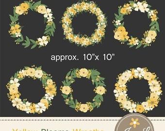 50% OFF Yellow Flower Wreath Clipart, Wedding Flowers, Flower Bunches, Floral Arrangement digital Scrapbooking, Wedding, Invitations, Save t