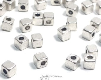 Cube Beads, Bulk Beads, Antique Silver Metal Beads, Large Hole Beads,  4mm, 2mm Hole (approx), Lead Free, Lot Size 20 to 100, #1340 BH
