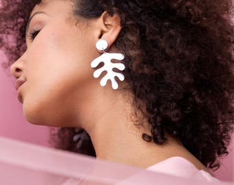 Silver leather Matisse-inspired earrings