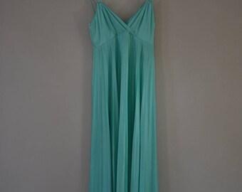 MINT JULEP DRESS   vintage maxi dress   pleated dress   sundress    vintage dress   aqua dress    seafoam green