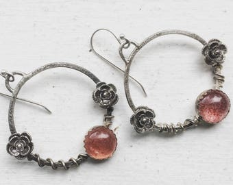 Flower Hoop Earrings, Strawberry Quartz Earrings, Gypsy Earrings, Pink Earrings, Flower and Vine Jewelry, Boho Earrings, Elegant Earrings
