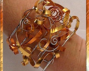 Cuff Bracelet Gold, Silver & Copper Ribbon Swirls, unique, One of a Kind Statement piece