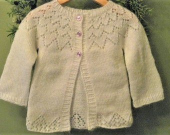 Hand Knitted Baby Girl White Lace Cardigan Sweater