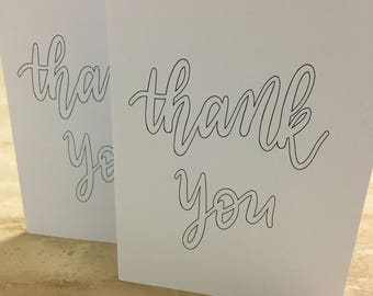 Thank You Greeting Card, outlined (landscape) - customisable hand lettering, foiled