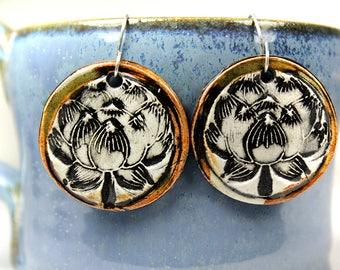 Lotus Earrings in Brown