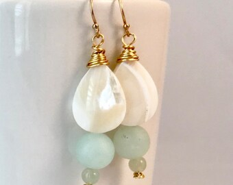 Jade, mother of pearl, drop earring, gold-filled ear wire, wire wrapped, jade earrings, mother of pearl earrings