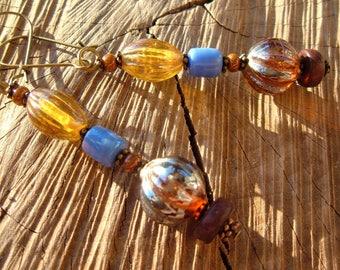 Earrings Minnewanka pearls glass wood metal
