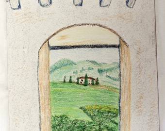 Tuscan Window- Original Pastel Drawing- 8x10 Drawing