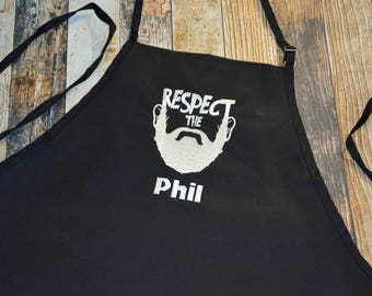Respect the Beard Personalized Apron - Available in Black, White, Blue, Green, Red and more colors of Aprons - BBQ Men's Apron - Lumberjack