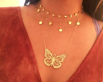 Gold Butterfly Necklace- 14k Gold Filled Butterfly Necklace, Monarch Necklace, Gorgeous Summer Necklace