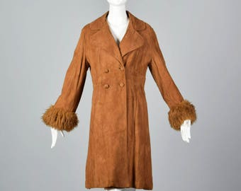 XS 1970s Brown Suede Coat Shearling Cuffs Long Sleeve Coat Vintage Outerwear Bohemian Boho Separates 70s Vintage