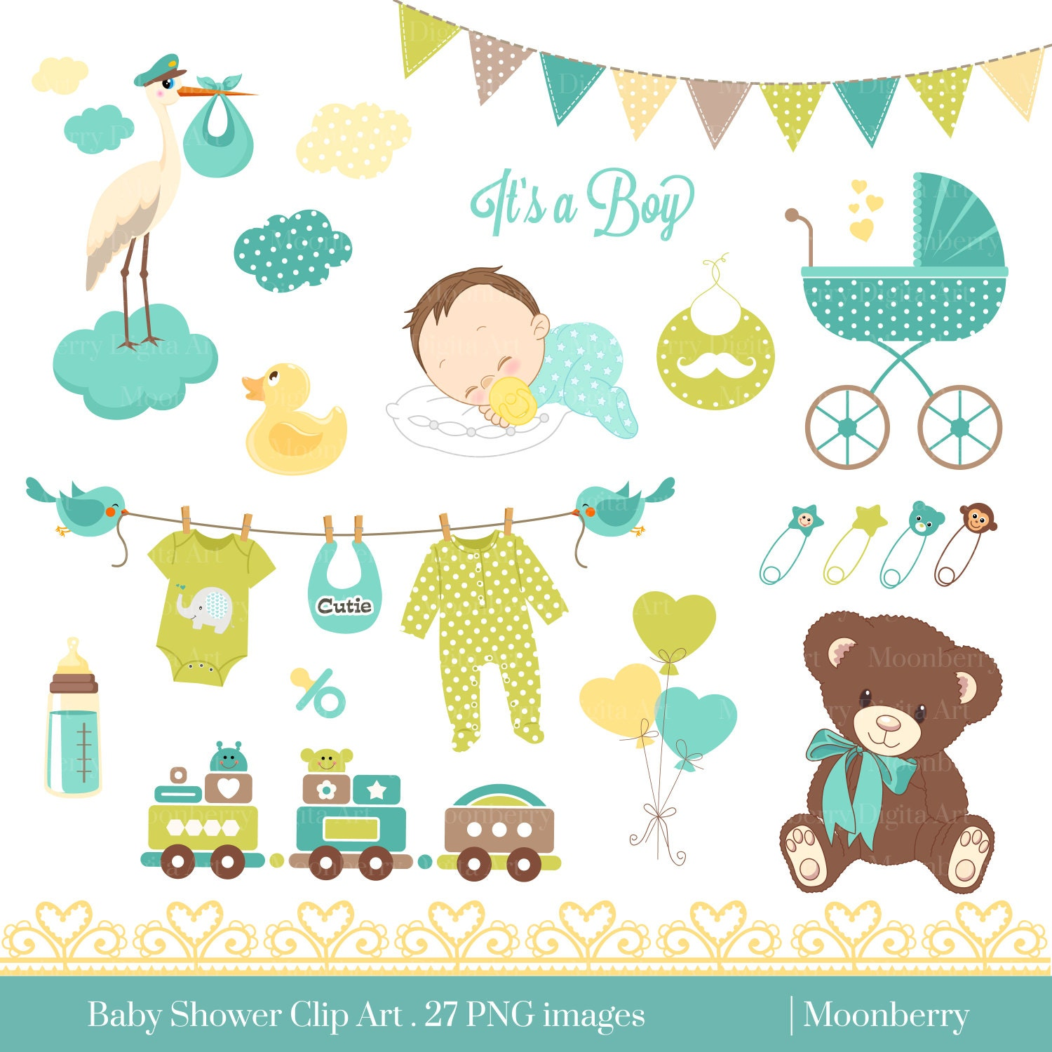 baby shower clip art baby shower clip art baby rh etsy com free clipart for baby shower invitations Baby Shower Background Clip Art