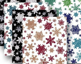 Real Snowflake Photos from 1900 in 2.5x3 inches -- piddix digital collage sheet no. 692
