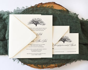Candler Oak Wedding Invitation - Savannah, GA - Live Oak - Wedding Invitation Suite - Southern Style - Simply Southern - Georgia Bride