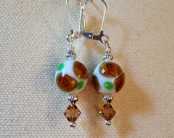 Glass Bead with Brown Rosettes and Green Leaves and Swarovski Crystal Dangle Earrings