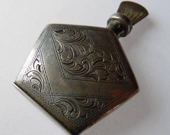 Old Miniature Сollegiate Sterling Silver Perfume Bottle Flask 19th century