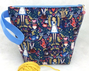 Alice Knitting Project Bag, Knitting Tote, Crochet Project Bag, Crochet Tote, Wonderland Bag