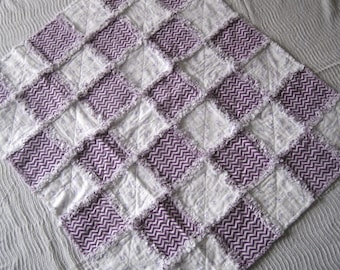 Baby Patchwork Quilt, Baby Flannel Rag Quilt, Baby Shower Gift, Fluffy Baby Blanket, Purple Baby Rag Quilt, Car Seat Quilt, Ready To Ship