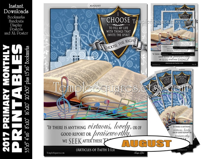 PRINTABLES Bundle Primary AUGUST 2017 Monthly Theme Poster Bookmarks Handouts Bulletin Board Sharing Time CTR I Choose The Right Gospel