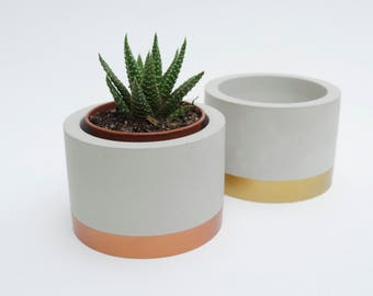 Cylinder Cement Planters Copper Gold