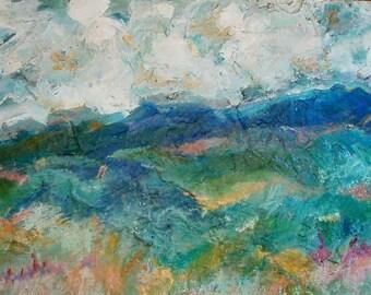 Impasto Cloud Magic  Landscape - acrylic painting