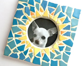 Yellow Blue Sunburst Mosaic Picture Frame, Blue Yellow Mosaic Frame, Square Mosaic Frame, Round Opening Frame, Small Mosaic Gift Frame