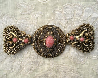 30s 40s Ornate Victorian Style Stamped Brass Buckle
