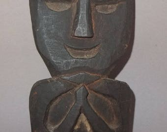 Wooden Sculpture with Namaste Gesture from Nepal, Traditional Nepali Protector Figure, Tribal Himalaya Art, FREE SHIPPING
