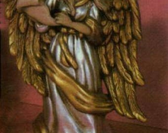 Ceramic Bisque U-Paint Victorian Angel with a Scroll Unpainted Ready To Paint DIY Scioto