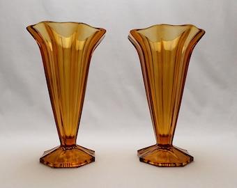 Golden Amber Trumpet Vases - A Pair