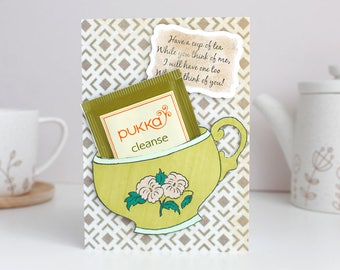Cuppa Herbal Tea Blank Greetings Card with Cleanse Tea