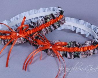 Wedding Garter Set in Orange and Realtree Camouflage Grosgrain with Swarovski Crystals