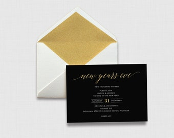 """Black and Gold Script New Year's Eve Party 5"""" x 7"""" Invitation - Digital or Printed"""
