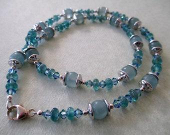 Calcite, Blue Apatite, and Swarovski Crystal Necklace