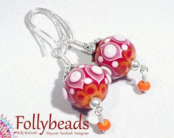 Handmade lampwork Artisan glass bead earrings, raked and raised dots in Orange, Red, Pink and White.