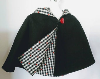 Toddler Girls Rouge Noir Lil Red Riding Hood Reversible Capelet - One Size 1-3T