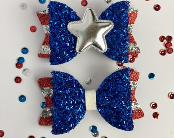American Hero Bow, red white & blue glitter hair bow, sparkly patriotic bow, Memorial Day hair bow, 4th of July hair bow, royal blue