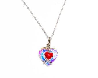 Zelda Heart Container, Swarovski Crystal Zelda Heart Necklace, Sterling Silver Zelda Inspired Pendant, Piece of Heart