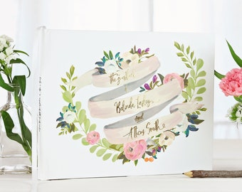 Floral Wedding Guest Book, Watercolor Wedding Guestbook, Gold Bridal Shower Gift, Photo Guest Book, Gift for the Couple, Rustic Guestbook