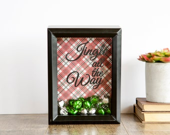 Gift for the Holidays: shadowbox with jingle bells artwork, Jingle all the Way