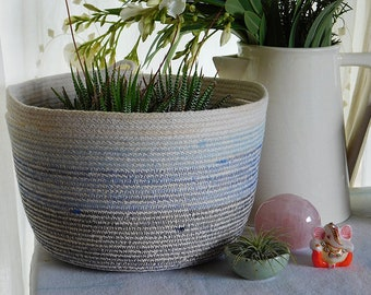 Tea Dyed Cotton Rope Basket with Handles || Planter || Rope Vessel || Storage || Organizing ||