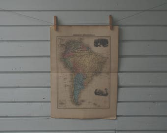 1887 Vintage South America Map