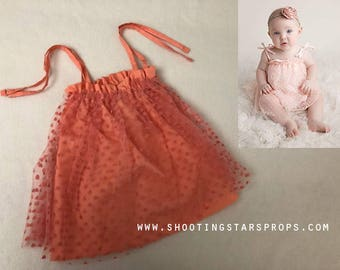 Little Sweetheart - Coral - Sitter Dress - Hearts - Toddler Top - Adjustable Tie Straps - Mesh Fabric - Tutu - Photography Prop