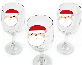Jolly Santa Claus - Christmas Party Wine Markers - Holiday Party Shaped Wine Glass Charms - Drink Markers - Wine Tags - Barware - Set of 24