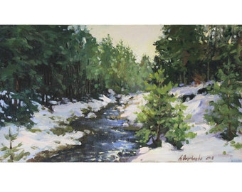 Impressionism oil painting Landscape painting Original plein air painting Winter landscape Wall art Forest Oil on cardboard by A. Onipchenko