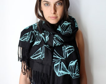 Silk Blend Sailboat Hand-Printed Scarf Electric Blue/Black