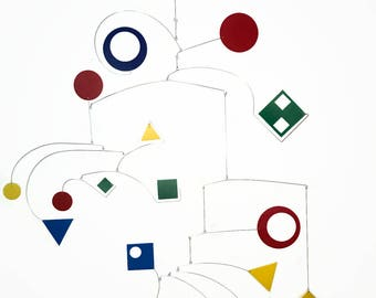 Large Mobile - Geometric Style Kinetic Sculpture - Sculpture for the Art Lover - Calder Inspired
