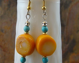 Yellow coral earrings with turquoise and silver plated beads