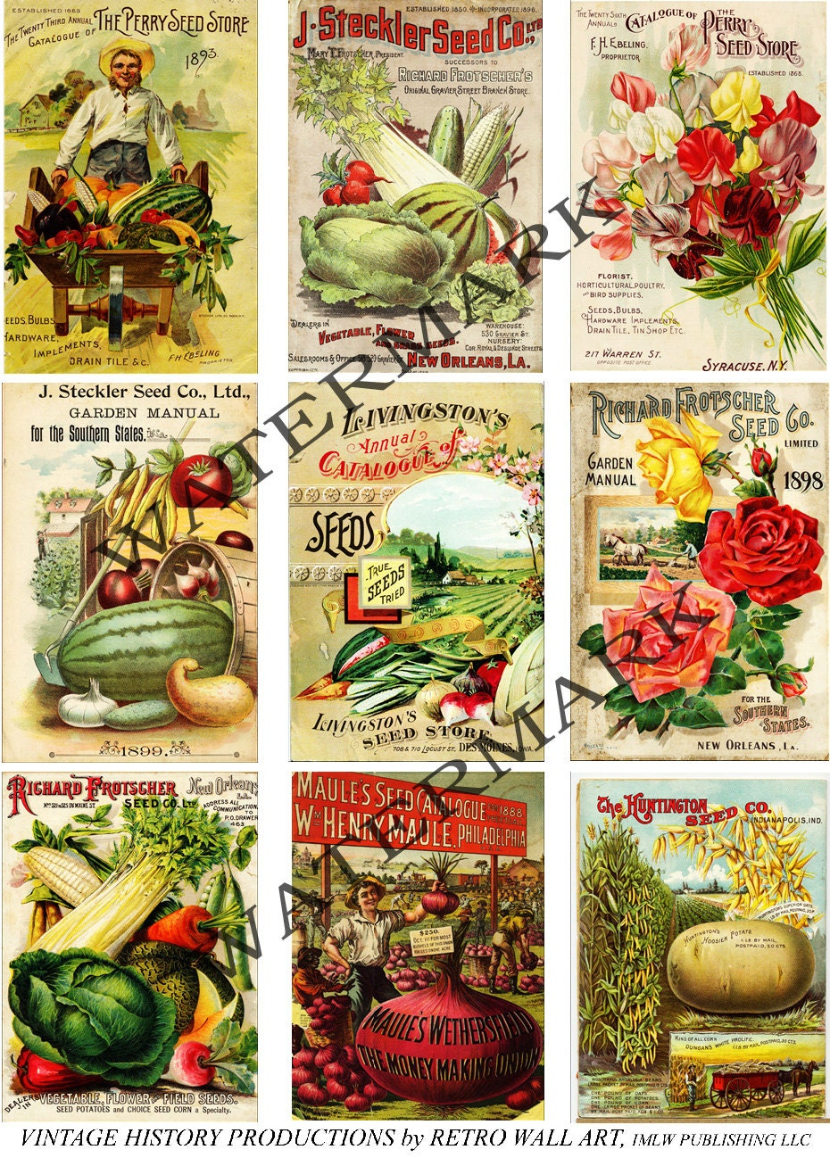 Vintage Seed Packs, 5 Digital Seed Catalog Cover Sheets ...