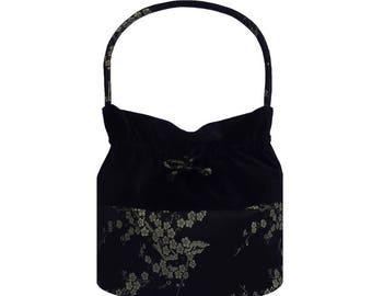 Evening Bag - Evening Bag in Black - Black Velvet Bag - Silk Brocade Bag in Black  - Black Velvet  Purse - Luxury Hand Made Bag.